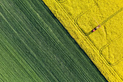 Aerial view of harvest fields with tractor Stock Photos