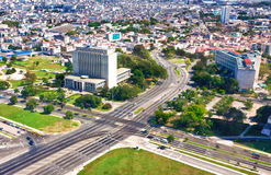Aerial view of Havana including Revolution Square. Aerial view of Havana with the Revolution Square and the National Library on the foreground royalty free stock photos
