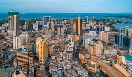 Aerial view of the haven of peace, city of Dar es Salaam. Aerial view of city of Dar es Salaam royalty free stock photos