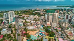 Aerial view of the city of Dar es Salaam. Aerial view of the haven of peace, city of Dar es Salaam stock images