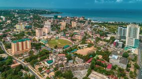 Aerial view of the city of Dar es Salaam. Aerial view of the haven of peace, city of Dar es Salaam royalty free stock photography