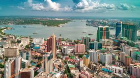Aerial view of the city of Dar es Salaam. Aerial view of the haven of peace, city of Dar es Salaam stock image