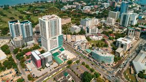 Aerial view of the city of Dar es Salaam. Aerial view of the haven of peace, city of Dar es Salaam royalty free stock photo