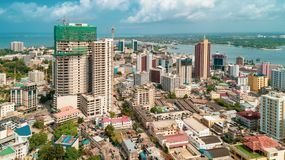 Aerial view of the city of Dar es Salaam. Aerial view of the haven of peace, city of Dar es Salaam royalty free stock images