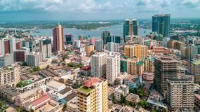 Aerial view of the city of Dar es Salaam. Aerial view of the haven of peace, city of Dar es Salaam stock photography