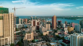 Aerial view of the city of Dar es Salaam. Aerial view of the haven of peace, city of Dar es Salaam royalty free stock photos