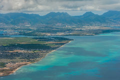 Aerial view of Hawaii beach and mountains Royalty Free Stock Photo