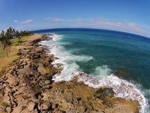 Aerial view of Hawaiian Coastline Stock Photo