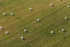 Aerial view of hay bales on the field Royalty Free Stock Photo