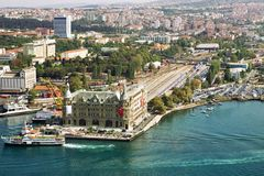Aerial view of Haydarpasa Train Station. Royalty Free Stock Images