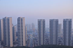 A aerial view of haze in Chinese city. Royalty Free Stock Images