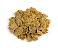 Aerial view of healthy brown bran cereal flakes isolated Stock Photo