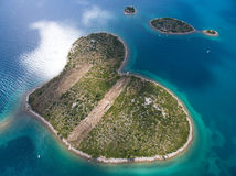 Aerial view of the heart shaped Galesnjak island on the adriatic coast. Royalty Free Stock Photo