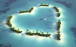 Aerial view of heart-shaped island Stock Photo