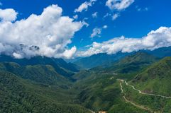 Aerial view of Heaven Gate mountain valley in Vietnam stock photo