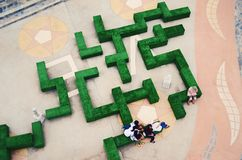 Aerial view of a hedge maze. In thailand Royalty Free Stock Image
