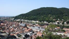 Aerial view of Heidelberg altstadt or old town and city from Heidelberg Castle stock video footage