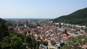 Aerial view of Heidelberg altstadt or old town and city from Heidelberg Castle stock footage