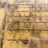 Aerial view from a height of 100 metres from the drainage ditches for a farmland with water draining trees. Made with drone Stock Images