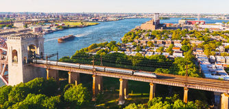 Aerial view of the Hell Gate Bridge over the East River in NY Stock Photos