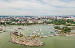 Aerial view of Helsinki. The capital of Finland royalty free stock photo