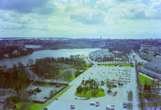 Aerial view of Helsinki. Aerial view of the city of Helsinki, Finland - Vintage colours royalty free stock images