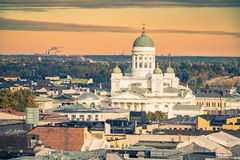 Aerial view on Helsinki, Finland. Aerial view on Cathedral in the Old Town of Helsinki, Finland royalty free stock photography