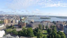 Aerial view of Helsinki skyline.  stock photo