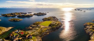 Football field in Henningsvaer from above Stock Images