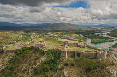 Aerial view of Rozafa castle Royalty Free Stock Photo
