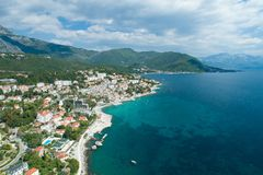 Aerial view of Herceg Novi town, marina and Venetian Forte Mare, Boka Kotorska bay of Adriatic sea royalty free stock photography