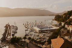 Aerial view of Herceg Novi town, marina and Venetian Forte Mare, Boka Kotorska bay of Adriatic sea, Montenegro - Image royalty free stock images