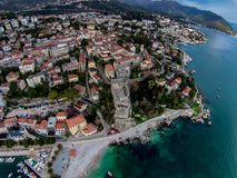 Aerial view of Herceg Novi Town in Montenegro Royalty Free Stock Photography