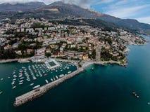 Aerial view of Herceg Novi Town in Montenegro Stock Images