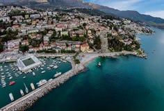 Aerial view of Herceg Novi Town in Montenegro. Royalty Free Stock Images