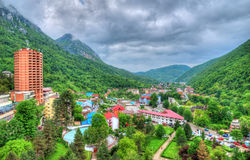 Aerial view, Herculane village, Romania. Aerial view over traditional architecture of the famous Herculane resort in Romania, Europe Royalty Free Stock Images