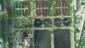 Aerial view High angle view Top down drone shot of the sewage treatment plant in phuket thailand