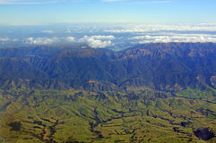 Aerial View of High Country Hawkes Bay farm land and Ruahine Ran stock photos