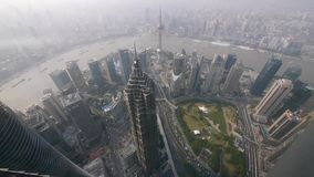 Aerial view of high-rise buildings with river in Shanghai,China. stock video footage