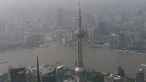 Aerial view of high-rise buildings with river in Shanghai,China. stock video