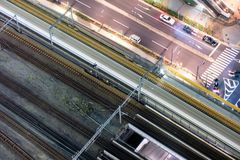 Aerial view of high-speed train motion blur rapid with traffic Stock Images