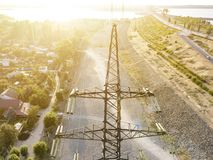 Aerial view of high voltage electric power lines pylon tower d royalty free stock photography