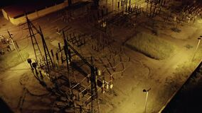 Electric Distribution Station Night Aerial View
