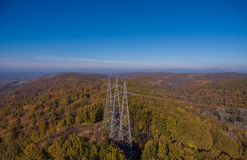Aerial view. High-voltage transmission metal tower. Aerial view. High voltage metal post. High-voltage transmission tower stock photos