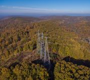 Aerial view. High voltage transmission tower. Aerial view. High voltage metal post. High-voltage transmission tower royalty free stock photos