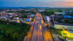 Aerial view of Hightway Lamphun Industrial Estate northern,Lamph Royalty Free Stock Image