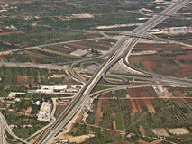 Aerial view of a highway. Aerial, view of a highway in Greece royalty free stock photography