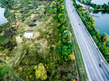 Aerial view - highway from above Stock Image