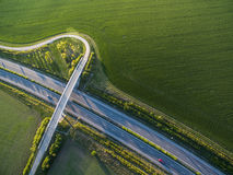 Aerial view of a highway Royalty Free Stock Images