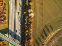 Aerial view of a highway Royalty Free Stock Image